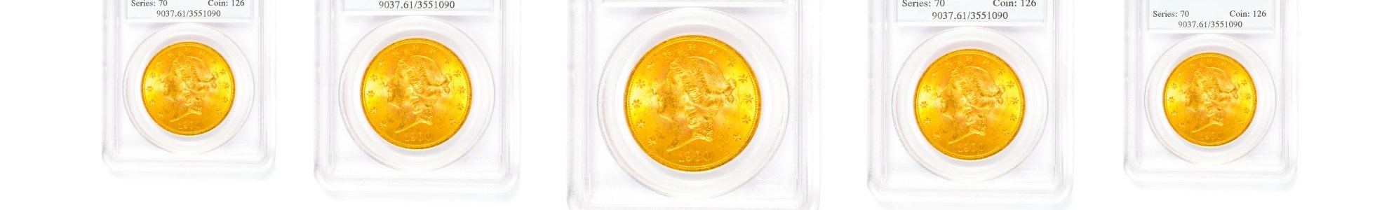 a collection of collectible gold coins